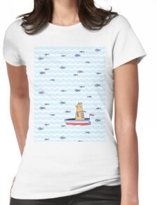 Salty sailor cat. Womens Fitted T-Shirt