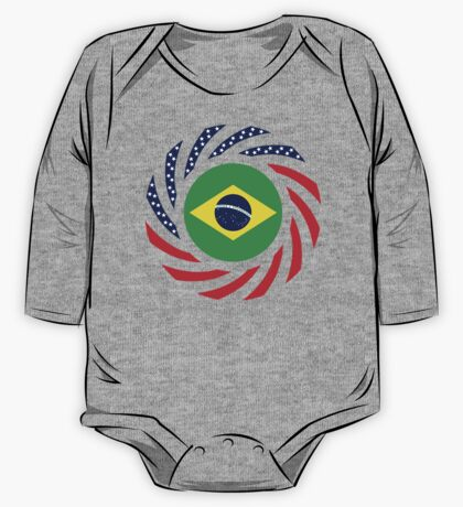 Brazilian American Multinational Patriot Flag Series One Piece - Long Sleeve