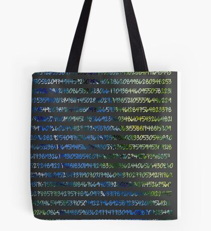 Digits of Pi (Green & Blue on Grey Background) Tote Bag