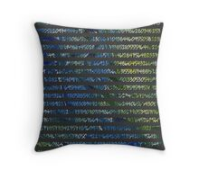 Digits of Pi (Green & Blue on Grey Background) Throw Pillow