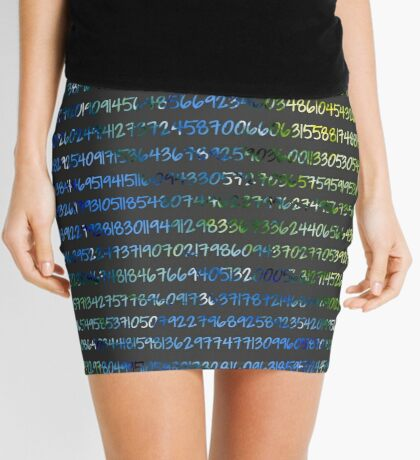 Digits of Pi (Green & Blue on Grey Background) Mini Skirt