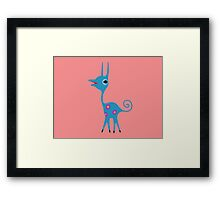 Pink Spotted Blue Creature Framed Print