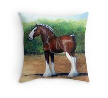 Clydesdale Horse Portrait Throw Pillow