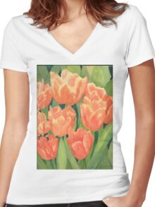 Citrus Tulips  Women's Fitted V-Neck T-Shirt