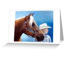 Palomino Quarter Horse Showmanship Class Portrait Greeting Card