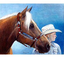 Palomino Quarter Horse Showmanship Class Portrait Photographic Print