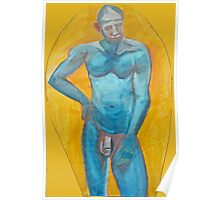 Blue Man - Male Standing Nude Poster