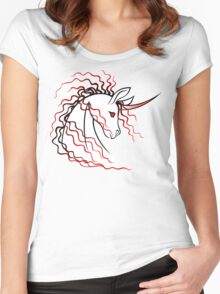 Ki-Rin (Japanese Unicorn) - Red Women's Fitted Scoop T-Shirt