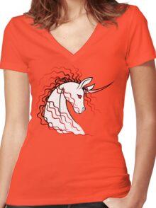 Ki-Rin (Japanese Unicorn) - Red Women's Fitted V-Neck T-Shirt