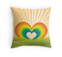 Rainbow Heart Keyhole Throw Pillow