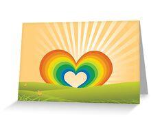 Rainbow Heart Keyhole Greeting Card