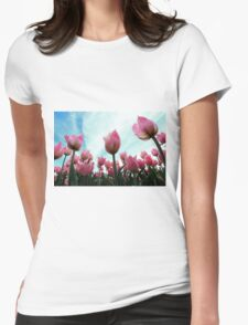Pink Tulips Womens Fitted T-Shirt