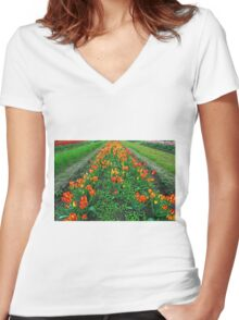 Orange Tulips Women's Fitted V-Neck T-Shirt