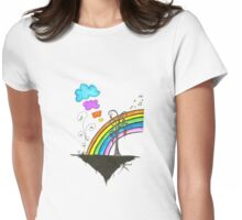 Watercolor Rainbow Womens Fitted T-Shirt