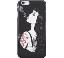 Realism Charcoal Drawing of Masuimi Max with Red Dragon Tattoo iPhone Case/Skin