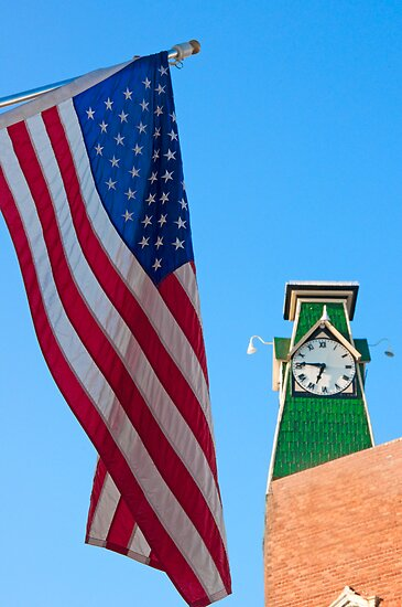 Patriotic Town Clock by Jay White