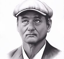 Realism Charcoal Drawing of Bill Murray by brittnideweese