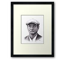 Realism Charcoal Drawing of Bill Murray Framed Print