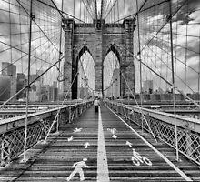 Walking the Brooklyn Bridge by Randy  Le'Moine