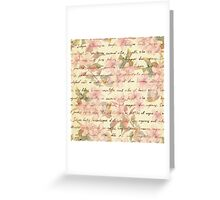Vintage,water color,floral,hand writtend,victorian,chic,elegant,shabby,pink,beige,cute,girly,trendy,hipster,template,customizable Greeting Card