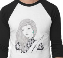 Giant Fashion Portrait of a woman with a drop earring Men's Baseball ¾ T-Shirt