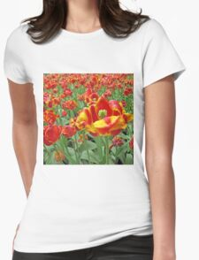 Square Yellow and Red Tulips Womens Fitted T-Shirt