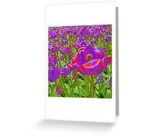 Wild Version Pink and Purple Tulips Greeting Card