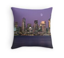 Seattle, Washington city skyline at night Throw Pillow