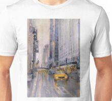 Hey Taxi - New York City Midtown Rain Watercolors Unisex T-Shirt