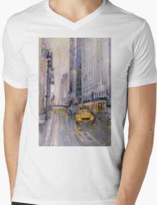 Hey Taxi - New York City Midtown Rain Watercolors Mens V-Neck T-Shirt