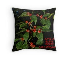 "101009-300X  ""BERRY MERRY CHRISTMAS"" Throw Pillow"