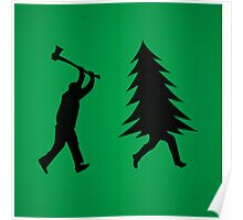 Funny Christmas tree is chased by Lumberjack / Run Forrest, Run! Poster
