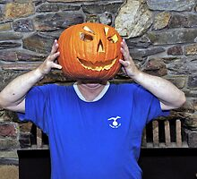 Pumpkin Head Dennis says give me some candy. by Edward Henzi