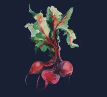 Watercolor image of beet root on white background.  Baby Tee
