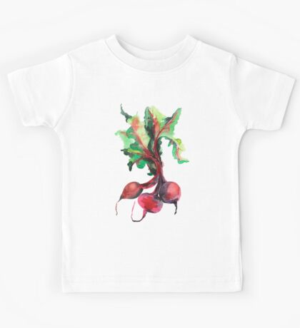 Watercolor image of beet root on white background.  Kids Tee