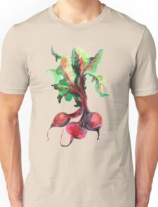 Watercolor image of beet root on white background.  Unisex T-Shirt