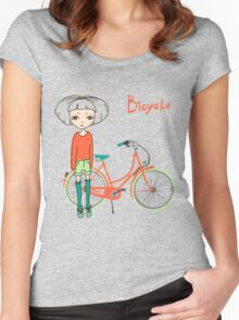 girl with bicycle Women's Fitted Scoop T-Shirt