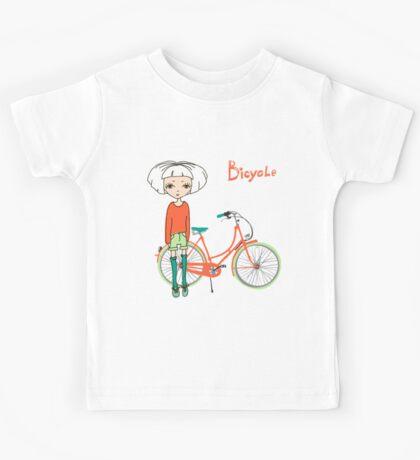 girl with bicycle Kids Tee