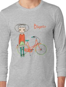 girl with bicycle Long Sleeve T-Shirt