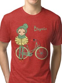 girl with bicycle Tri-blend T-Shirt