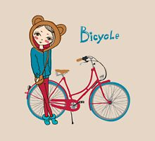 girl with bicycle Womens Fitted T-Shirt
