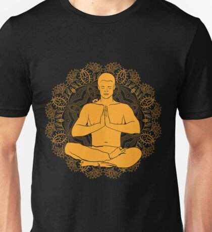man sitting in the lotus position doing yoga meditation Unisex T-Shirt