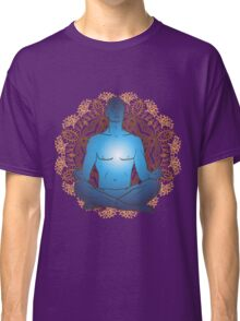 man sitting in the lotus position doing yoga meditation Classic T-Shirt
