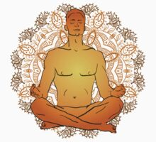 illustration man sitting in the lotus position doing yoga meditation Kids Clothes