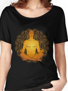 illustration man sitting in the lotus position doing yoga meditation Women's Relaxed Fit T-Shirt