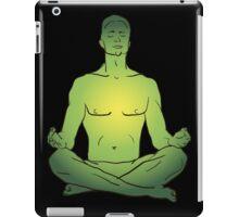 illustration man sitting in the lotus position doing yoga meditation iPad Case/Skin
