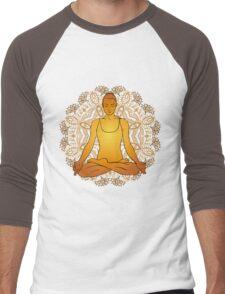 beautiful woman doing yoga meditation Men's Baseball ¾ T-Shirt