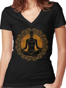 beautiful woman doing yoga meditation Women's Fitted V-Neck T-Shirt