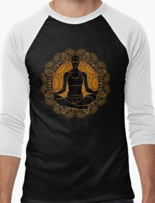 beautiful woman doing yoga meditation Men's Baseball ¾ T-Shirt