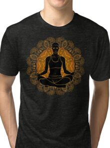 beautiful woman doing yoga meditation Tri-blend T-Shirt